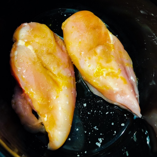 raw chicken breast in slow cooker